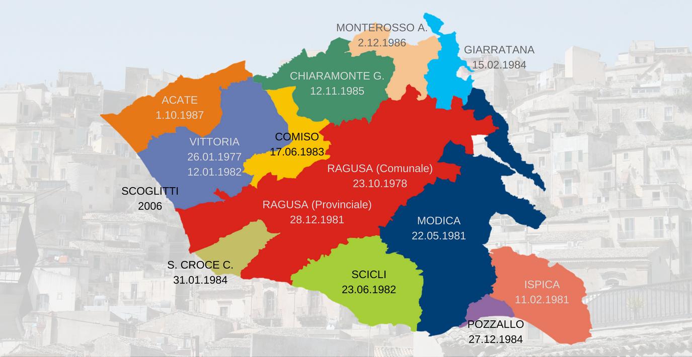 Date di fondazione delle sedi AVIS in provincia di Ragusa